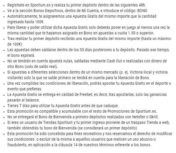 Términos y Condiciones Bono Sportium 100