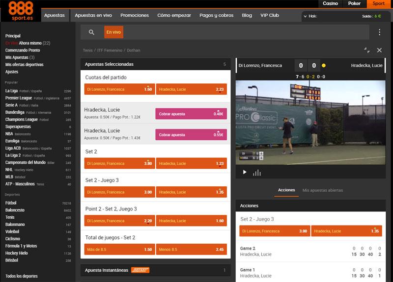 Apuestas en directo 888Sport